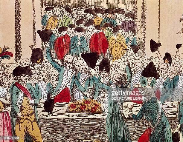 Revolutionary era banquet etching French Revolution France 18th century Paris Hôtel Carnavalet