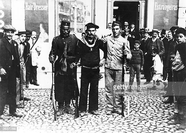 Revolutionary soldiers and sailors during the Lisbon Revolution of 1910 which commenced on the 3rd October Manoel II the King of Portugal was deposed...