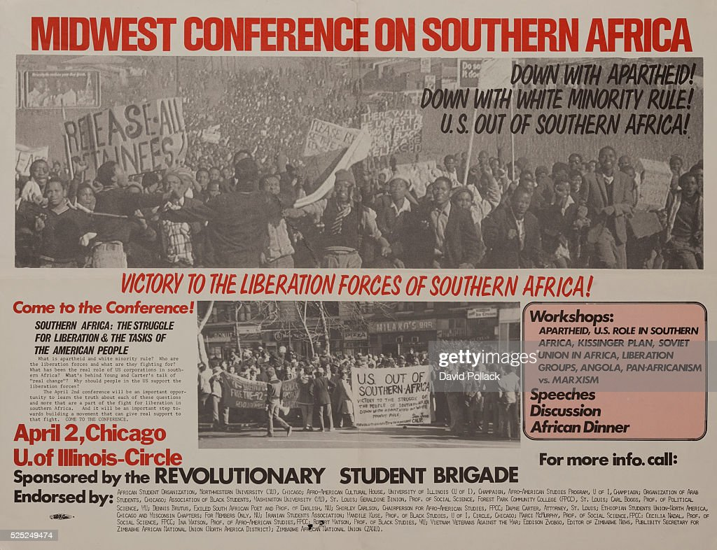 Midwest conference on southern africa anti apartheid protest poster revolutionary student brigade protest poster showing mass marches in south africa and the united states against publicscrutiny Images