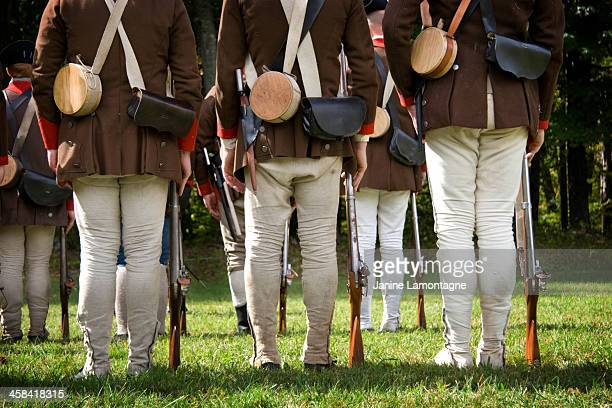 revolutionary war reenactment - revolutionary war soldier stock photos and pictures