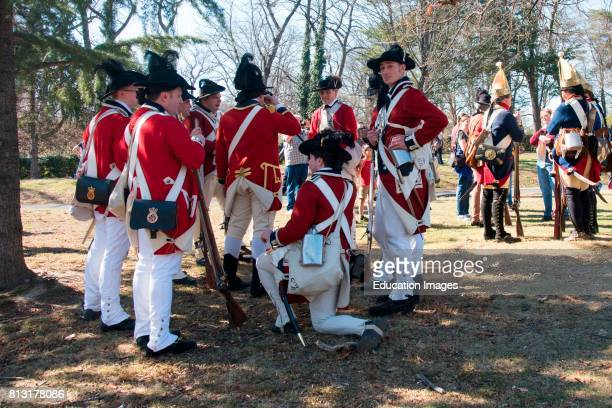 Revolutionary War reenactors in full British uniform Alexandria Virginia