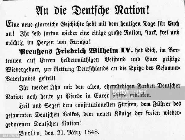 Revolutions of 1848 in the German states Announcement to the German Nation announcing the public appearance of the king Frederick William IV of...