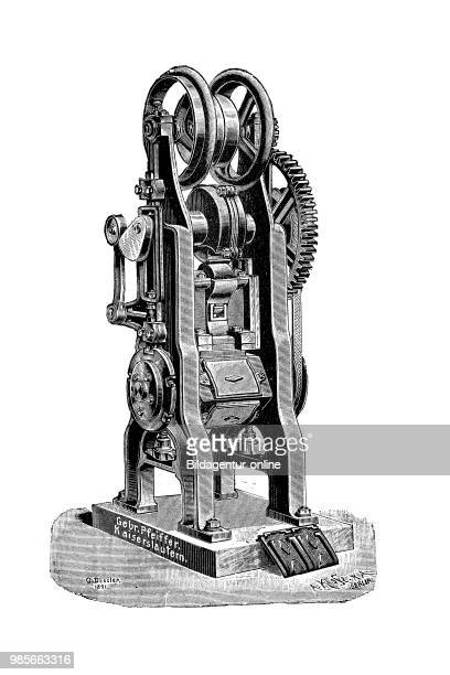 A revolver folding tile press by Gebr Pfeiffer Kaiserslautern Germany machine for the production of roof tiles industrial product from the year 1880...