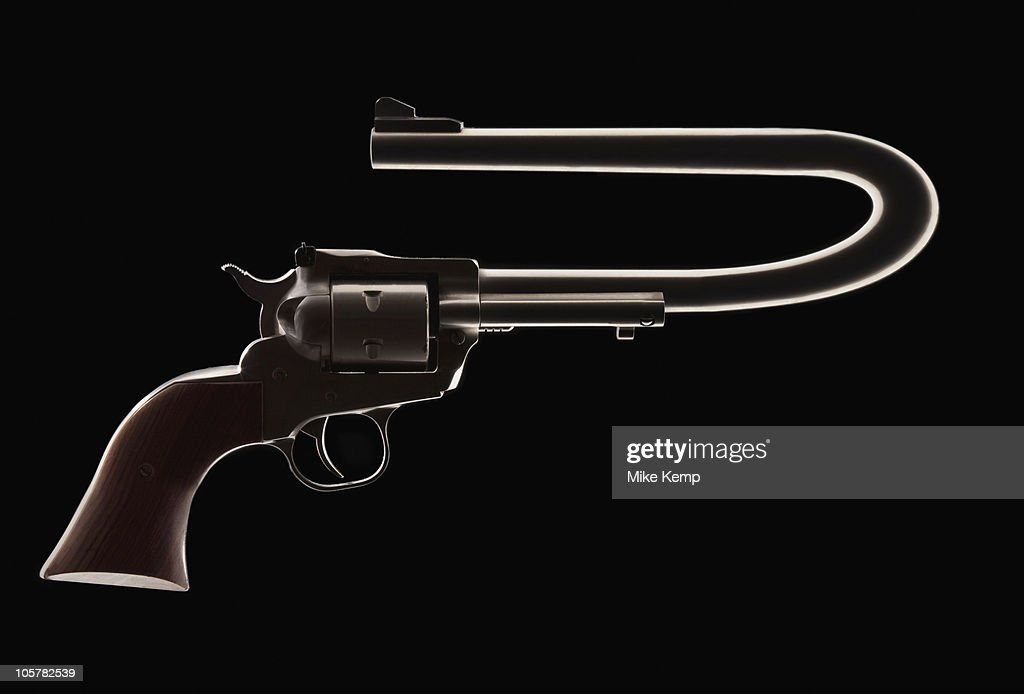 Revolver with a bent barrel : Stock Photo