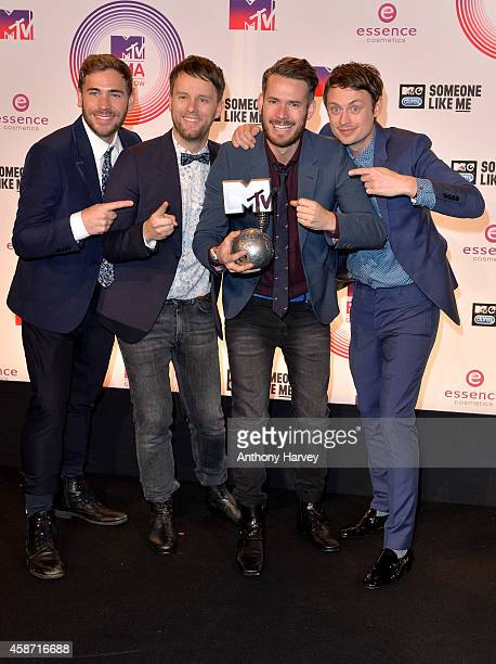 Revolverheld pose in the winners room at the MTV EMA's 2014 at The Hydro on November 9 2014 in Glasgow Scotland
