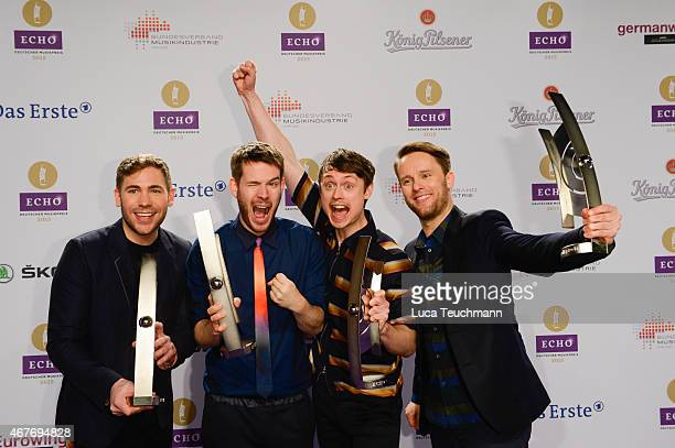 Revolverheld poses with his prize at the Echo Award 2015 winners board on March 26 2015 in Berlin Germany