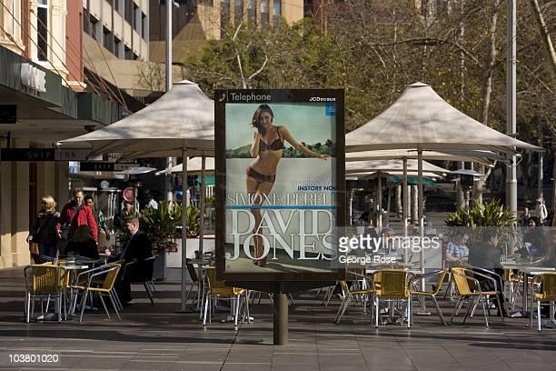 A revolving billboard promotes the David Jones department store on August 10 2010 Sydney Australia Sydney a major destination for global travelers...