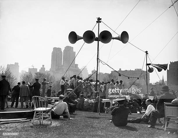 Revue by a Black cast in progress at a show staged by the WPA in Central Park,  New York, US.