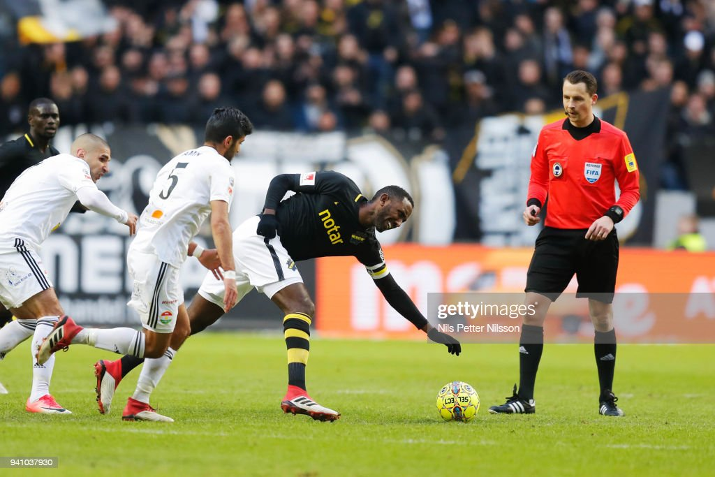 Rewan Amin of Dalkurd FF and Henok Goitom of AIK competes for the ball during the Allsvenskan match between AIK and Dalkurd FF at Friends Arena on april 2, 2018 in Solna, Sweden.