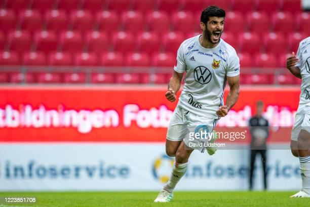 Rewan Amin of Ostersunds FK celebrates after scoring the 1-2 goal during the Allsvenskan match between Kalmar FF and Ostersunds FK at Guldfageln...
