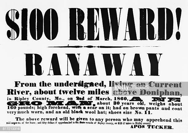 Reward poster circulated in Ripley County, Missouri after March 2, 1860 when an African American slave ran away from his owner, Apos Tucker.