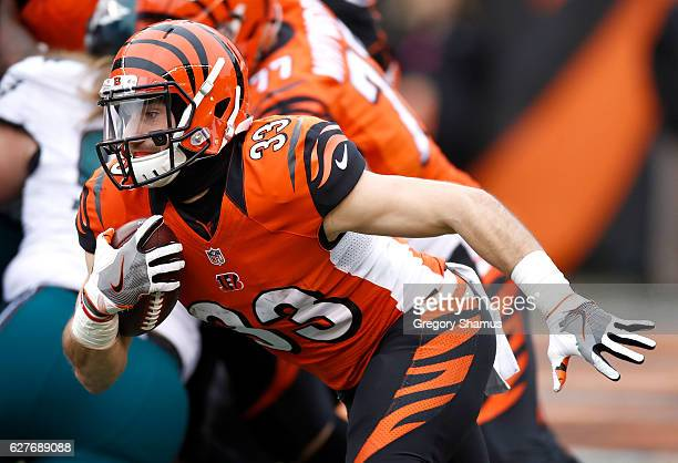 Rex Burkhead of the Cincinnati Bengals carries the ball during the second quarter of the game against the Philadelphia Eagles at Paul Brown Stadium...