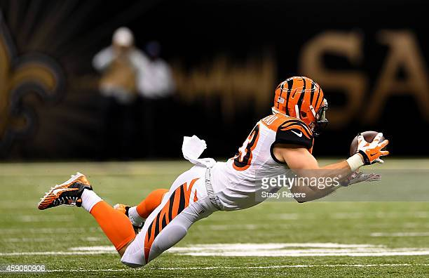 Rex Burkhead of the Cincinnati Bengals catches a pass during the second half against the New Orleans Saints at MercedesBenz Superdome on November 16...