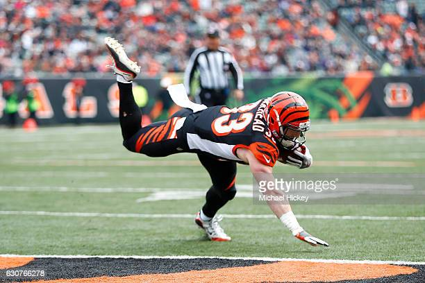Rex Burkhead of the Cincinnati Bengals dives into the endzone for a touchdown during the first quarter of the game against the Baltimore Ravens at...