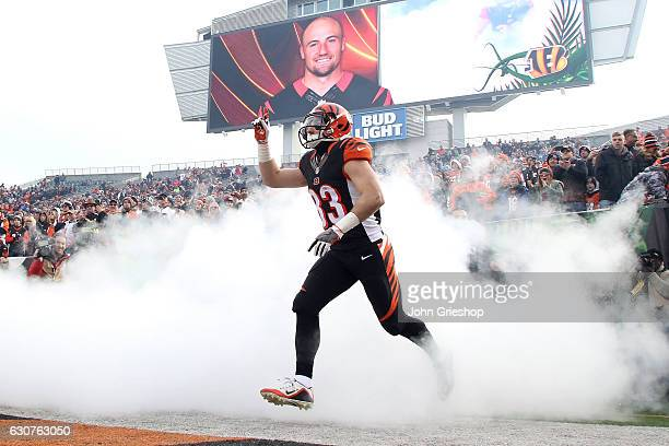 Rex Burkhead of the Cincinnati Bengals is introduced to the crowd prior to the start of the game against the Baltimore Ravens at Paul Brown Stadium...