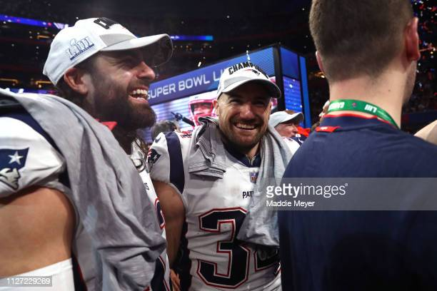 Rex Burkhead of the New England Patriots celebrates his teams 133 win over the Los Angeles Rams during Super Bowl LIII at MercedesBenz Stadium on...