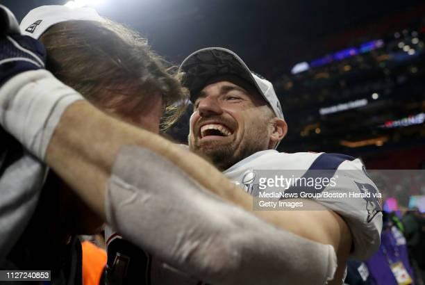 Rex Burkhead of the New England Patriots celebrates winning Super Bowl LIII at MercedesBenz Stadium on February 3 2019 in Atlanta GA
