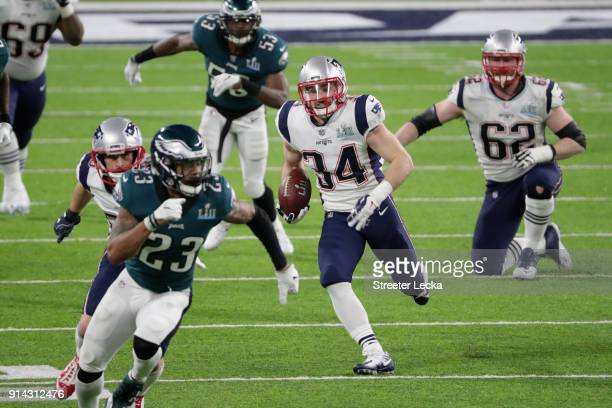 Rex Burkhead of the New England Patriots make a 46yard reception during the second quarter against the Philadelphia Eagles in Super Bowl LII at US...