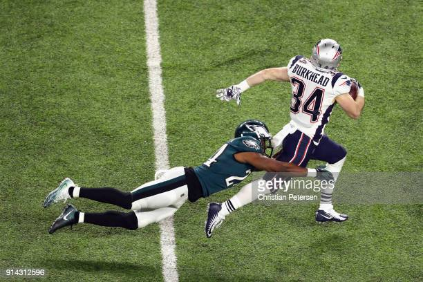 Rex Burkhead of the New England Patriots makes a 46yard reception during the second quarter against the Philadelphia Eagles in Super Bowl LII at US...