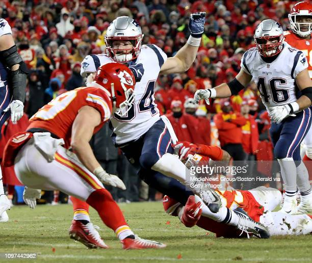 Rex Burkhead of the New England Patriots runs in the red zone during overtime of the AFC Championship at Arrowhead Stadium on January 20 2019 in...
