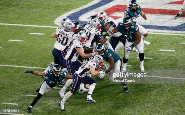 Rex Burkhead of the New England Patriots rushes during the game against the Philadelphia Eagles in Super Bowl LII at US Bank Stadium on February 4...