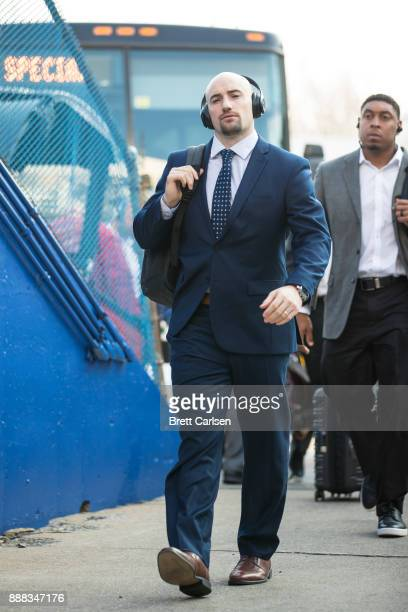 Rex Burkhead of the New England Patriots walks into the stadium in street clothes before the game against the Buffalo Bills at New Era Field on...