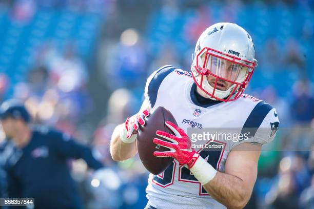 Rex Burkhead of the New England Patriots warms up before the game against the Buffalo Bills at New Era Field on December 3 2017 in Orchard Park New...