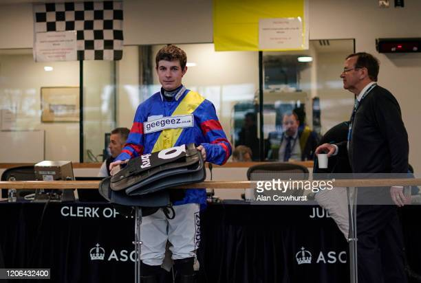 Rex Dingle waits in the weighing room at Ascot Racecourse on February 15 2020 in Ascot England
