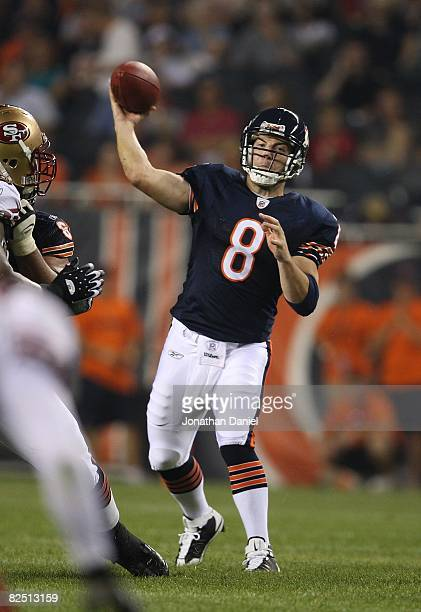Rex Grossman of the Chicago Bears throws a pass against the San Francisco 49ers on August 21 2008 at Soldier Field in Chicago Illinois The 49ers...