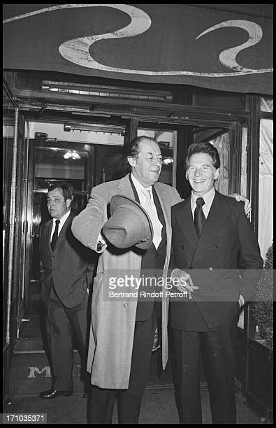 Rex Harrison and Jean Pierre Aumont leaving Maxim's restaurant at Premiere Of Musician JeanJacques Debout At Olympia Music Hall In 1976