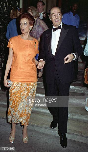 Rex Harrison with his wife Mercia Tinker attend the opening night of his play The Admirable Crichton on August 8 1988 in London
