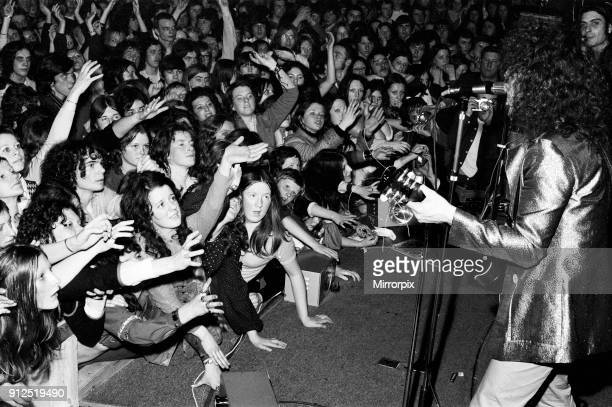 T Rex in concert at the Starlight Ballroom Boston Lincolnshire Marc Bolan performing in front of 3500 fans who packed the Ballroom out 15th January...