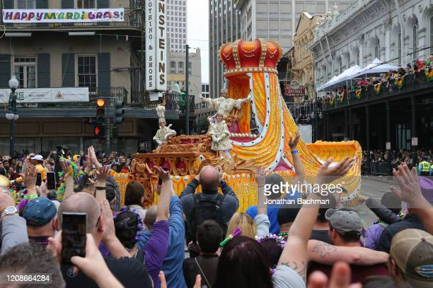 Rex King of Carnival J Storey Charbonnet waves to crowds during Fat Tuesday celebrations on February 25 2020 in New Orleans Louisiana Fat Tuesday or...