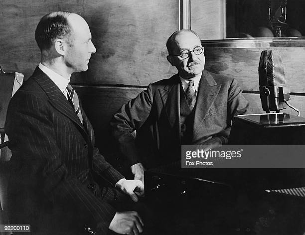 Rex Palmer and Fred Gaisberg rehearse for their upcoming appearance on A W Hanson's production 'The BBC Presents the ABC' 28th May 1937 Palmer once...