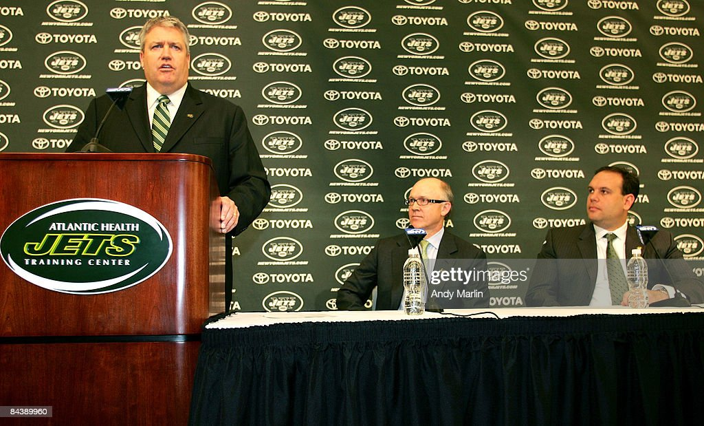Rex Ryan (L) addresses the media during a press conference after being introduced as the new Head Coach of the New York Jets as Owner Woody Johnson (C) and General Manager Mike Tannenbaum look on at the Atlantic Health Jets Training Center on January 21, 2009 in Florham Park, New Jersey.