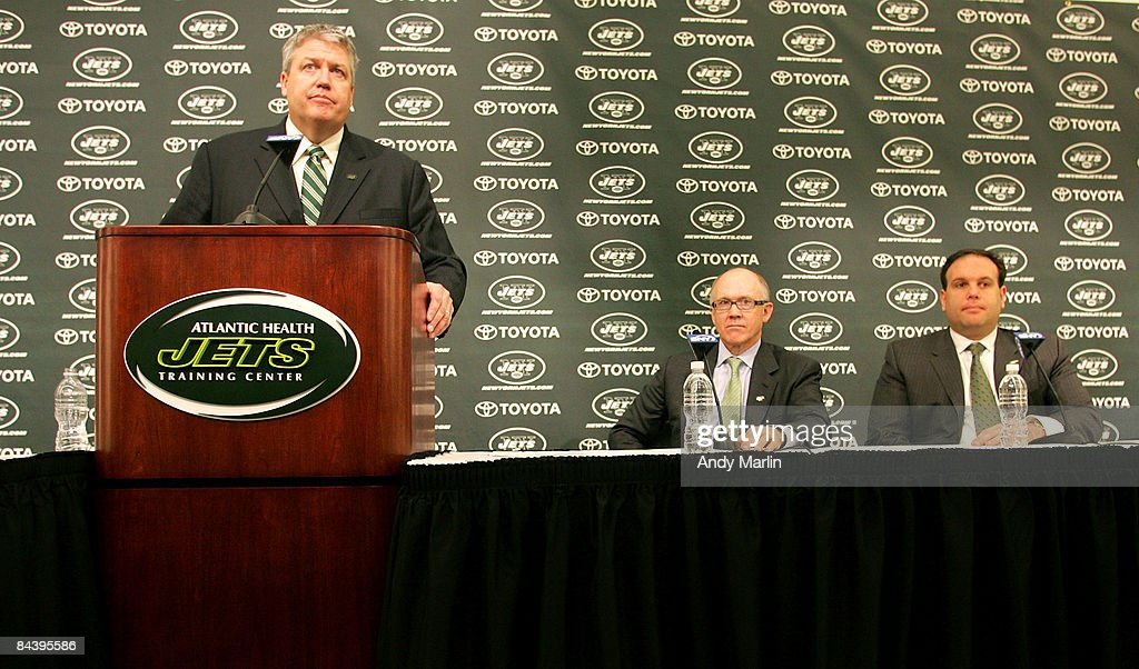 Rex Ryan addresses the media during a press conference introducing him as the new Head Coach of the New York Jets as Owner Woody Johnson (C) and General Manager Mike Tannenbaum look on at the Atlantic Health Jets Training Center on January 21, 2009 in Florham Park, New Jersey.