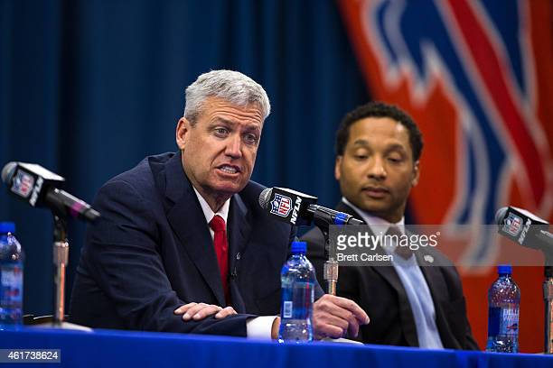 Rex Ryan speaks while manager Doug Whaley listens at a press conference announcing Rex Ryan's arrival as head coach of the Buffalo Bills on January...