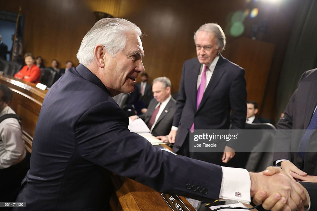 Rex Tillerson arrives for questioning in his confirmation hearing for Secretary of State in the Dirksen Senate Office Building on January 11, 2017 in Washington, DC. Mr. Tillerson hearing is in front of the Senate Foreign Relations Committee.