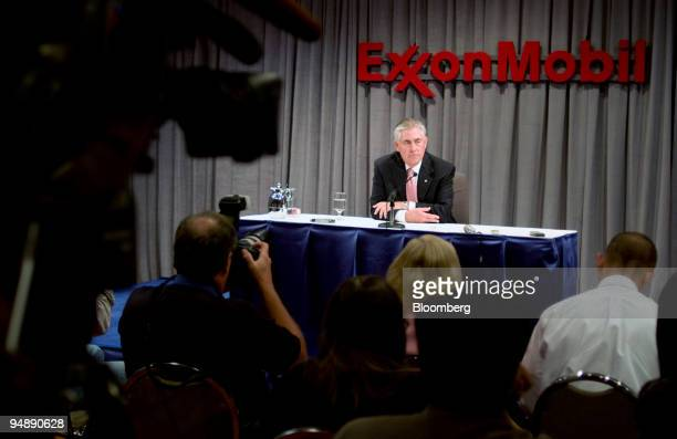Rex Tillerson chairman and chief executive officer of Exxon Mobil Corp speaks during a news conference following Exxon's annual shareholders meeting...