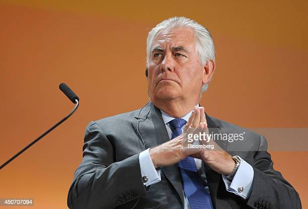 Rex Tillerson chief executive officer of Exxon Mobil Corp pauses during a plenary session of the 21st World Petroleum Congress in Moscow Russia on...