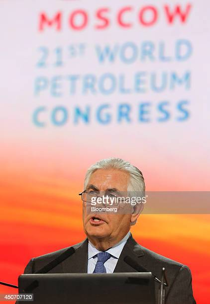 Rex Tillerson chief executive officer of Exxon Mobil Corp speaks during a plenary session of the 21st World Petroleum Congress in Moscow Russia on...