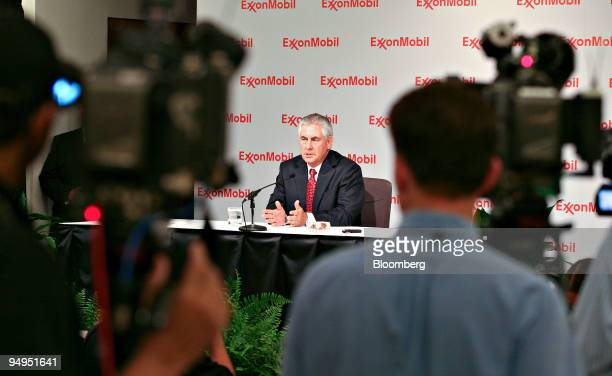 Rex Tillerson chief executive officer of Exxon Mobil Corp speaks during a news conference following the company's annual meeting in Dallas Texas US...