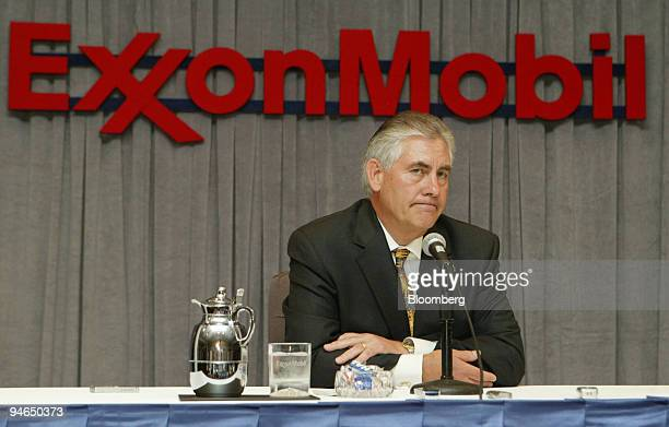 Rex Tillerson chief executive officer of Exxon Mobile Corp speaks at a news conference after the annual meeting of shareholders in Dallas Texas on...