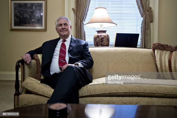Rex Tillerson former chief executive officer of Exxon Mobile Corp and US secretary of state nominee for presidentelect Donald Trump sits during a...
