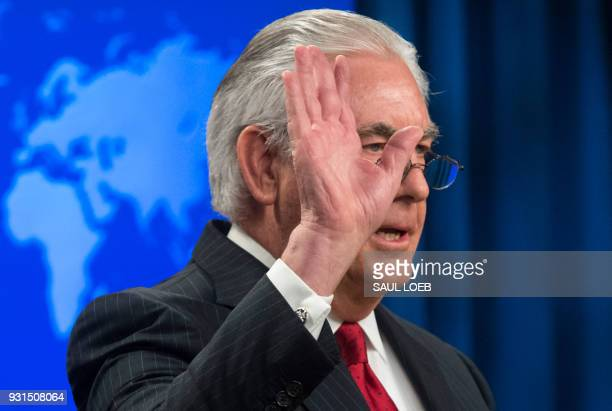 Rex Tillerson outgoing US Secretary of State gestures as he makes a statement after his dismissal at the State Department in Washington DC March 13...