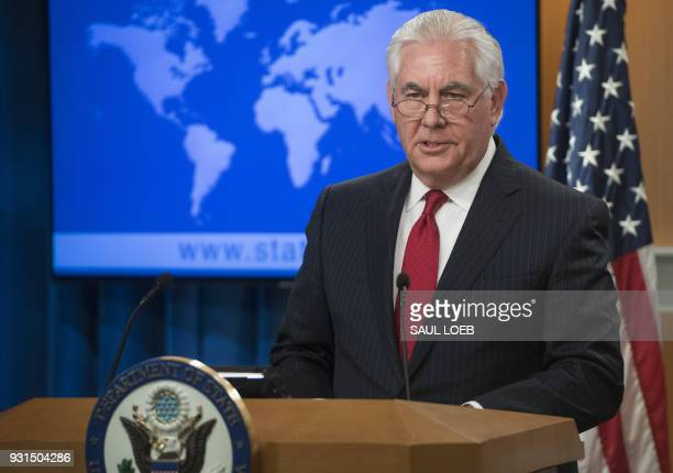 Rex Tillerson outgoing US Secretary of State makes a statement after his dismissal at the State Department in Washington DC March 13 2018 Secretary...