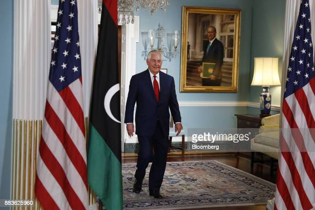Rex Tillerson US Secretary of State arrives for a meeting with Fayez alSarraj Libya's prime minister not pictured at the State Department in...