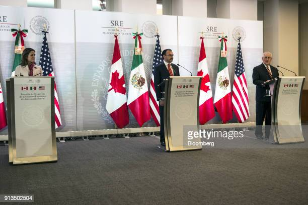 Rex Tillerson US Secretary of State from right speaks while Luis Videgaray Mexico's foreign minister and Chrystia Freeland Canada's minister of...