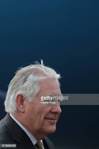 Rex Tillerson US Secretary of State leaves the plane as he arrives in Mexico City as part of an official visit to Mexico at the Presidential Hangar...