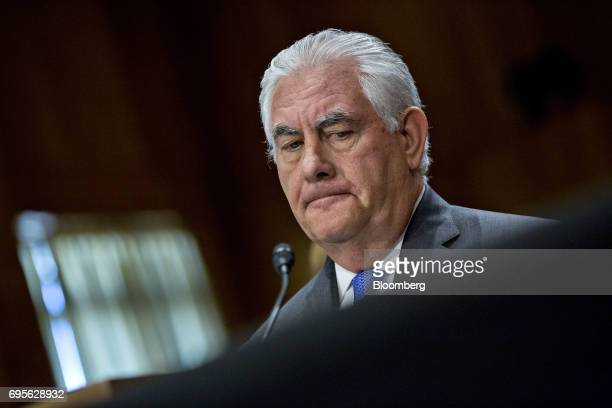 Rex Tillerson US Secretary of State listens during a Senate Foreign Relations Committee hearing in Washington DC US on Tuesday June 13 2017 Tillerson...